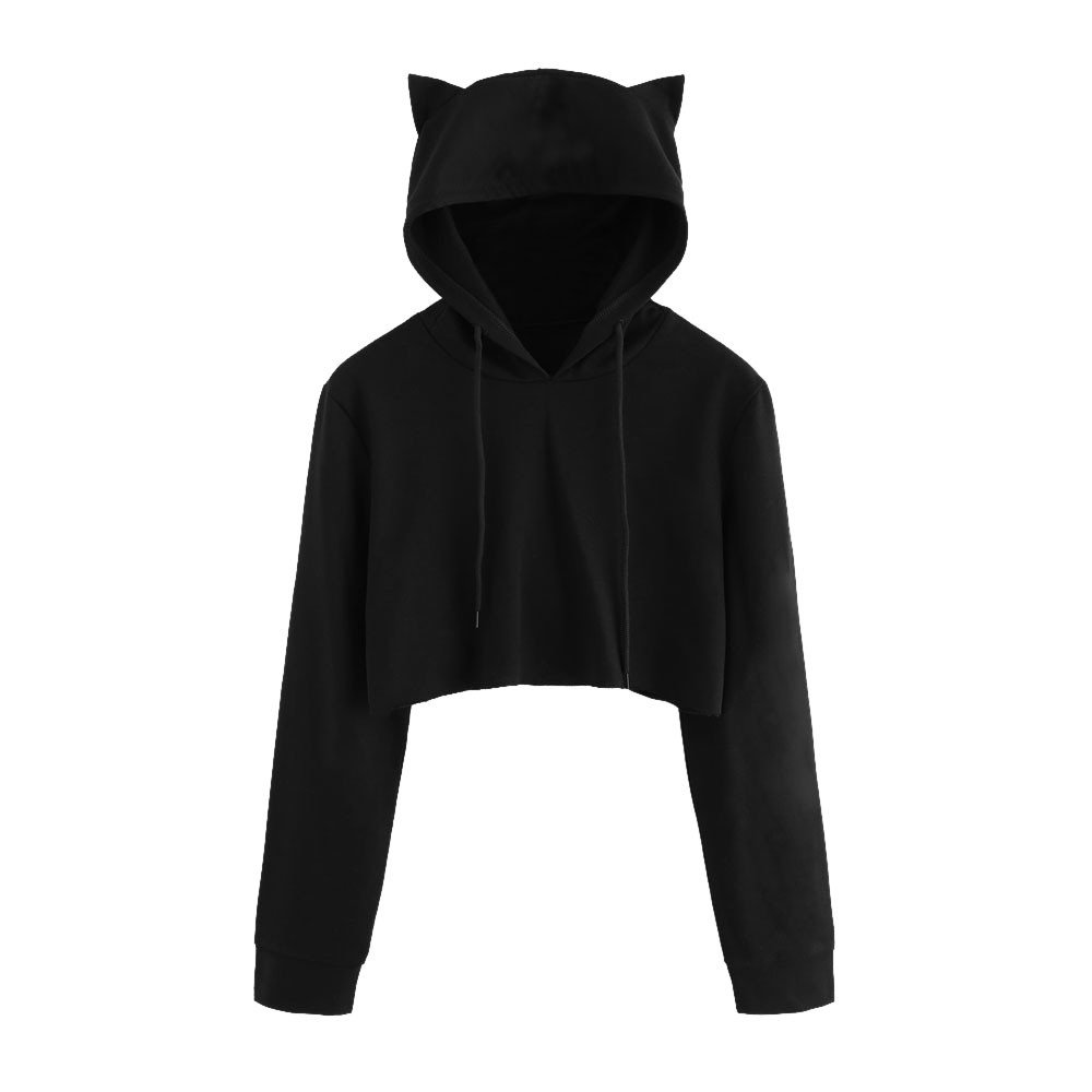 Wociaosmd Women Teen Girls Cute Cat Ear Sweatshirt Solid Color Long Sleeve Shirt Pullover Crop top Blouse(,Black,L)