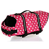 Kuoser Ripstop Dog Life Jacket with Handle Adjustable Reflective Pet Puppy Saver Swimming Water Life Vest Coat Flotation float Aid Buoyancy for Small and Large Dogs,Pink dot XS