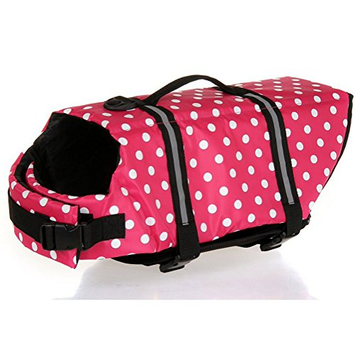 Kuoser Ripstop Dog Life Jacket with Handle Adjustable Reflective Pet Puppy Saver Swimming Water Life Vest Coat Flotation float Aid Buoyancy for Small and Large Dogs,Pink dot XS by Kuoser