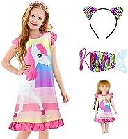 ZukoCert Nightgown Matching Doll and Girls Pajamas Night Dress Girls Sleep Dress Nightgown Nightie