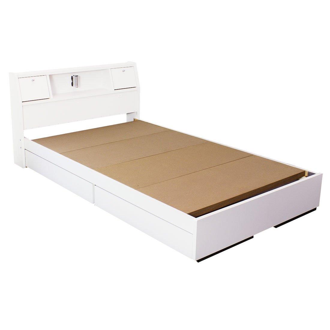 タンスのゲン 日本製 収納ベッド 引き出し コンセント付 フレームのみ 木製 宮棚 シンプル ベッドフレーム ダブル ホワイト 44300003 01 B06XDZ3H3K 3、ダブル|ホワイト ホワイト 3、ダブル