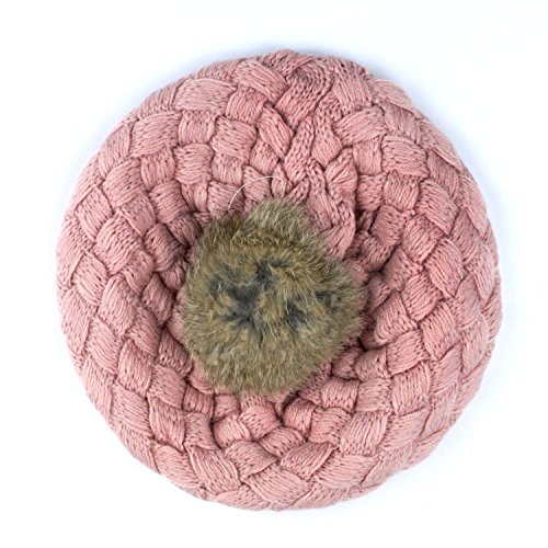 APAS Baby Toddler Crochet Knitting Cuffed Fluffy Pom Beret Beanie Hat Cap Toque Pink