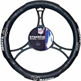 15 X 15 Inches NFL Raiders Steering Wheel Cover, Football Themed Three Sides Team Logo Name Vibrant Rubber Grip Sports Patterned, Team Logo Fan Merchandise Athletic Team Spirit, Black Silver Blue, Pvc