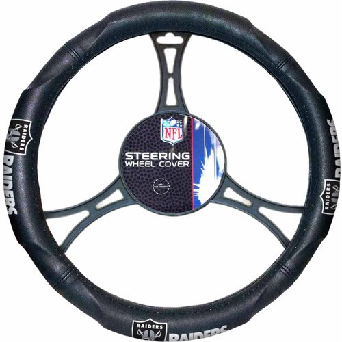 15 X 15 Inches NFL Raiders Steering Wheel Cover, Football Themed Three Sides Team Logo Name Vibrant Rubber Grip Sports Patterned, Team Logo Fan Merchandise Athletic Team Spirit, Black Silver Blue, Pvc by DH