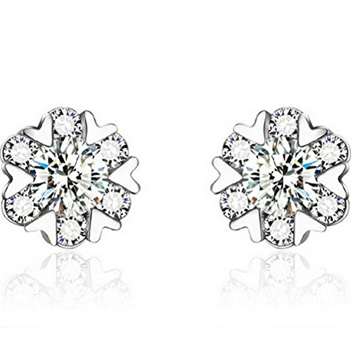 Winter's Secret Snow Dance Six Heart Shape Romantic Silver Diamond Studded Earring