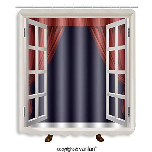 Vanfan designed Windows 71062693 Theater curtain. Presentation. Movies. Shower Curtains,Waterproof Mildew-Resistant Fabric Shower Curtain For Bathroom Decoration Decor With Shower Hooks