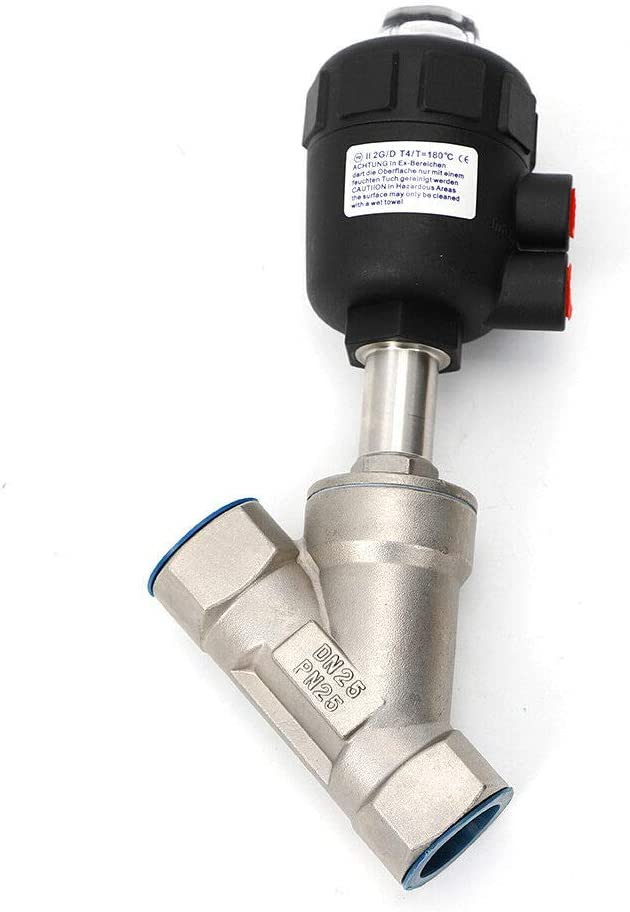 1/'/' DN25 Air Actuated Angle Seat Valve 2 Way Pneumatic Steam Valve 16 MPa