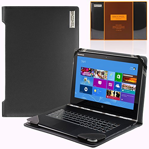 Navitech Black Real Leather Folio Case Cover Sleeve For The Lenovo Thinkpad Yoga 12.5""