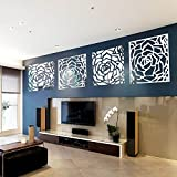 Romantic 4 Rose Flower Wall Art DIY Acrylic Mirror Crystal Wall Sticker TV Sofa Background Decorative 3D Mural Decals Living Room Bedroom Home Decor Decorations (Silver 40*160cm)