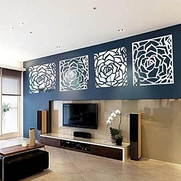 Amazon.com: Romantic 4 Rose Flower Wall Art DIY Acrylic Mirror ...