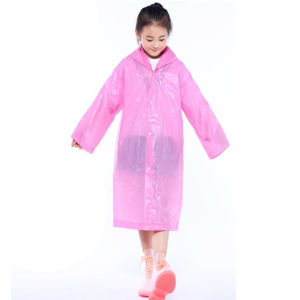 Culater® Unisex Kids Portable Raincoat Age 6-12 Girls Boys Hooded Waterproof Coat Jacket Rain Poncho
