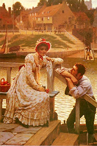 $50-$2000 Hand Painted Art Paintings by College Teachers - Courtship Historical Regency Edmund Leighton Victorian Oil Painting for Wall Art Decor -Size 01