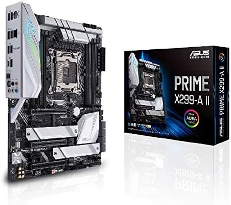 Asus Prime X299- A II ATX Motherboard (Intel X299) LGA 2066, 12 IR3555 Power Stages, DDR4 4266 MHz, Triple M.2, USB 3.2 Gen 2 Type-C, Intel LAN and Aura Sync RGB Lighting