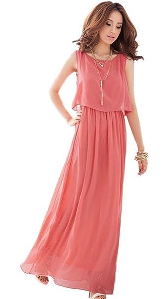 Demarkt Women Chic Bohemian Style Chiffon Vogue Dress Candy Colour High Waist Cocktail/Club/Party Costume Casual Wear Prom Long Dress: Amazon.co.uk: ...