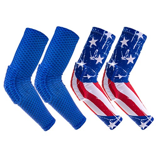 RoryTory 2 Pairs Compression Arm Sleeve Padding Volleyball Elbow Pads Anti Slip Brace Support for Wrestling Basketball Baseball Soccer Tennis Sports UV Protection | USA Patriotic & Blue Mesh - Medium