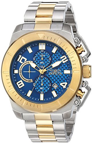 Invicta Men's 'Pro Diver' Quartz Stainless Steel Casual Watch, Color:Two Tone (Model: 23407) (Diver Chronograph Bracelet)
