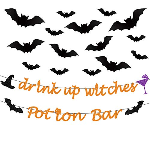 Halloween Bar Drinks (DIY Halloween Banner Orange Glittery Drink Up Witches Banner,Potion Bar Banner,PVC 3D Decorative Scary Bats Wall Decal Wall Sticker 32 Pics Halloween Eve Decor Home Window Decoration)