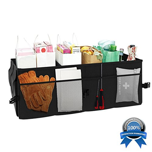 Auto Trunk Organizer Car Storage Box. Best for Groceries, Toy, Cargo, Sports Gear, Golf and Camping for Vehicle, SUV, Van or Truck. Collapsible Material with 2 Sturdy Compartments & 12 side pockets.