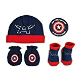 Marvel Avengers Captain America Hat With Mitts and Bootie Gift Set Accessory,  Azul/Rojo