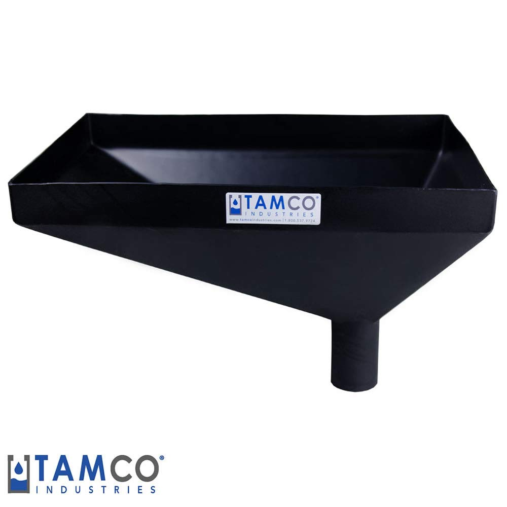 20'' x 13'' Rectangular Black Heavy Duty Tamco Linear Low Density Plastic Funnel with 2-1/2'' OD Offset Spout (1 Funnel)