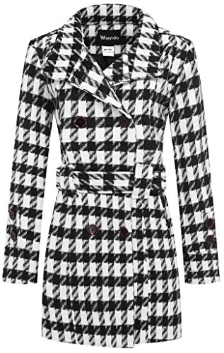 Wantdo Women's Double Breasted Houndstooth Funnel-Neck Wool Coat, Black & White, Small