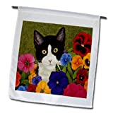 3dRose fl_119367_1 Photo of Painting of Tuxedo Cat Among Flowers Garden Flag, 12 by 18-Inch