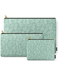 Society6 Painted Leaves - A Pattern In Cream On Soft Mint Green Carry-All Pouch