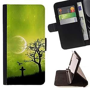 BullDog Case - FOR/HTC DESIRE 816 / - / Night Green Moon /- Monedero de cuero de la PU Llevar cubierta de la caja con el ID Credit Card Slots Flip funda de cuer