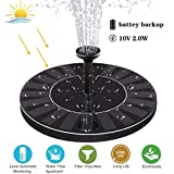 Sunshinehomely Upgraded Solar Fountain Pump with Battery Backup, Solar Powered Bird Bath Fountain 2W Solar Panel Kit Water Pump for Birdbath, Pond, Pool,Garden and Lawn