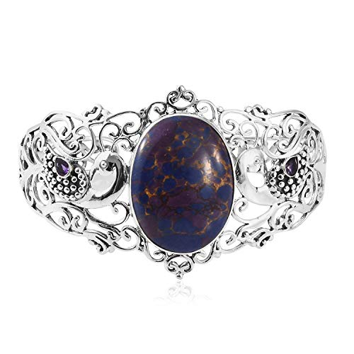 (925 Sterling Silver Oval Purple Turquoise Amethyst Openwork Peacock Bangle Cuff Bracelet for Women 7.25