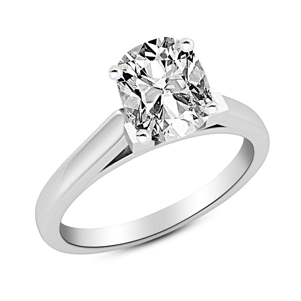 0.5 1/2 Ct Cushion Modified Cut Cathedral Solitaire Diamond Engagement Ring 14K White Gold (G Color VS2 Clarity)