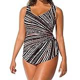 COOKI 2019 Women's Striped Sarong Front One Piece Swimsuit Plus Size Push Up Monokini Bikini Swimwear Bathing Suit Black