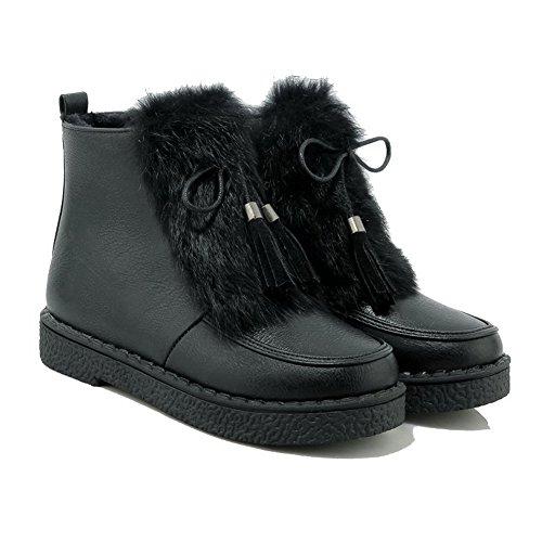 Allhqfashion Women's Low-top Solid Zipper Round Closed Toe Low-Heels Boots Black MCJLf2pcx