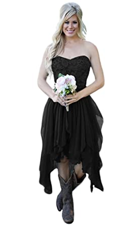 3443188a691 Andybridal Country High Low Chiffon Lace Beach Wedding Guest Cocktail Party Bridesmaid  Dress Black 2