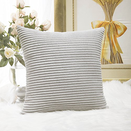 Home Brilliant Striped Soft Velvet Corduroy European Throw Pillow Sham with Hidden Zipper, Only Cover, 26 inch(66x66cm), Light Grey - European Square Pillow Shams