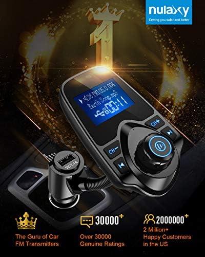 Nulaxy Bluetooth Car FM Transmitter Audio Adapter Receiver Wireless Hands Free Car Kit W 144 Inch