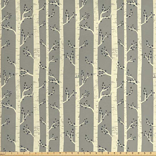 - Ambesonne Grey Fabric by The Yard, Birch Tree Branches Vintage Bohemian Contemporary Illustration of Nature, Decorative Fabric for Upholstery and Home Accents, 2 Yards, Warm Taupe Pale Yellow