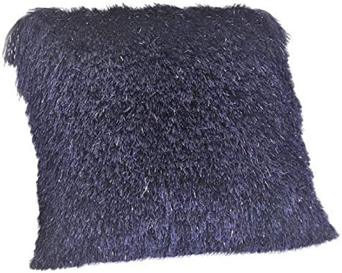 N BE Shaggy Luxury Collection, Chic Modern Decorative Shag Fluffy Throw Accent Pillow with Glitter Yarn Lurex, 18×18, Blue