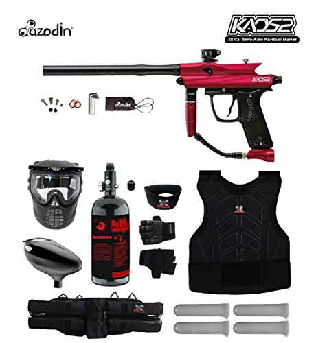 Azodin Kaos 2 Starter Protective HPA Paintball Gun Package - Red / - Paintball Hopper Red