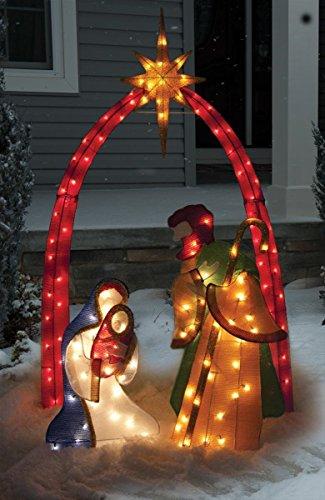 TINSEL NATIVITY SCENE CHRISTMAS DECORATION