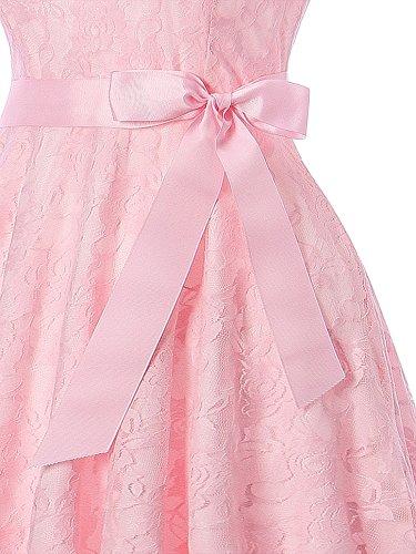 Encaje Elegante Cóctel SUPPLY Rosa Lazo KT sin con Vestido Mujer Noche Boda Mangas Retro Fiesta BxpxF0aqw