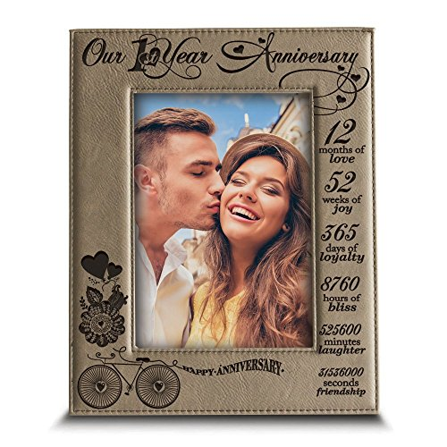 Bella Busta - Our 1st Year Anniversary - Months, Week, Days, Hours, Minutes -Engraved Leather Picture Frame-Anniversary gift for couple-our 1st Anniversary gift (5
