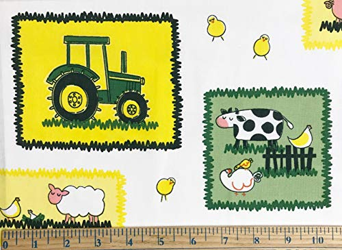 1/2 Yard - John Deere Tractor Patches on White Cotton Fabric - Officially Licensed (Great for Quilting, Sewing, Craft Projects, Throw Blankets & More) 1/2 Yard X ()