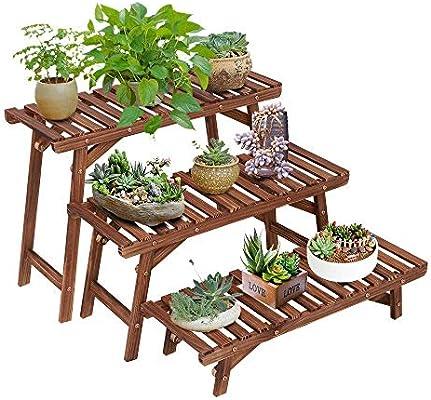 JHUEN Estanteria Plantas Exterior Madera, Freestanding 3 Tier Step Design Plant Stand Interior Pantalla al Aire Libre Escalera en Rack Jardinera para macetas (Combinación Libre): Amazon.es: Deportes y aire libre