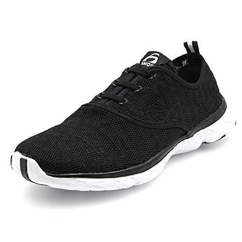Amoji Water Aqua Shoes Swim Beach Shoes Sneakers Men Women Ladies Black 7.5US Women/6.5US Men
