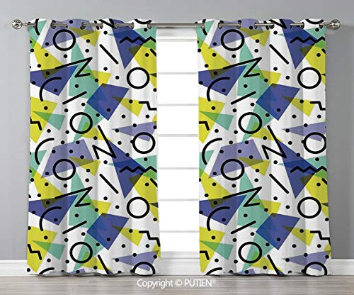 Grommet Blackout Window Curtains Drapes [ Modern Decor,Geometric Retro 80s Themed Image with Lines Circles and Spots Print,Blue Yellow and Black ] for Living Room Bedroom Dorm Room Classroom Kitchen C