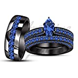 ArtLine Jewels 1.50 CT Marquise Blue Sapphire Black Gold Finish Engagement Weddiong Ring Trio Set