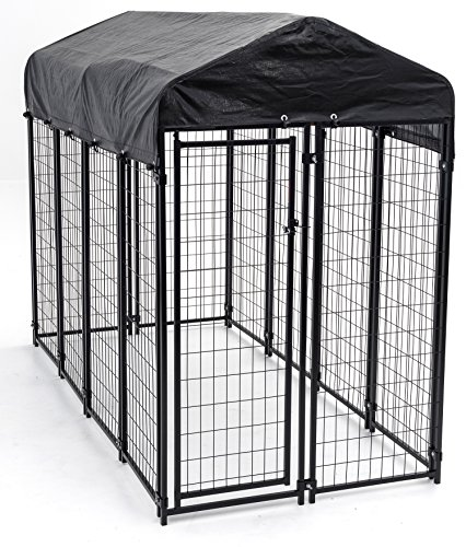 Heavy Duty Dog Cage – Lucky Dog Outdoor Pet Playpen – This Pet Cage is Perfect For Containing Small Dogs and Animals. Included is a Roof and Water-Resistant Cover (4'W x 4'L x 6'H)