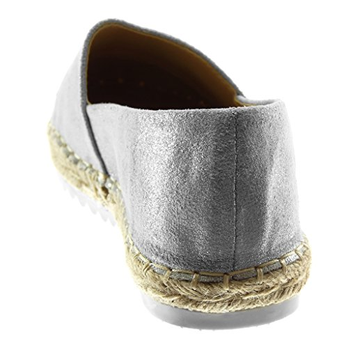Angkorly Women's Fashion Shoes Espadrilles - Slip-on - Bi Material - Metallic - Strass - Shiny - Cord Flat Heel 2 cm Silver YS0jNu46a