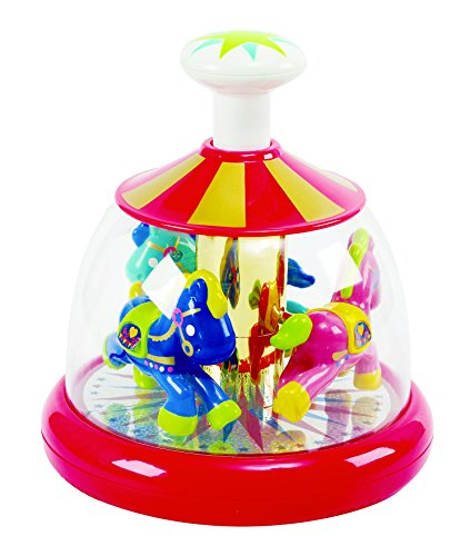 - KidSource Push & Spin Carousel - Spinning Baby Toy with Easy Press Button - Cause and Effect Learning Activity for Infants Ages 6 Months and Up